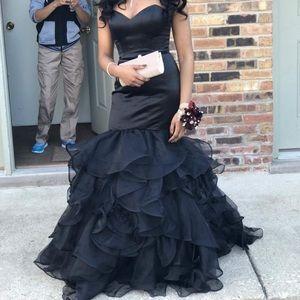 Black corset prom dress